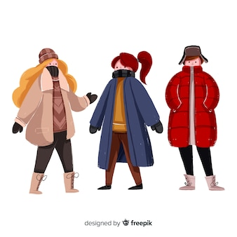 Set of people wearing winter clothes