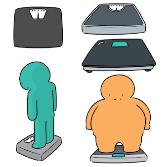 Set of people on weighing machine