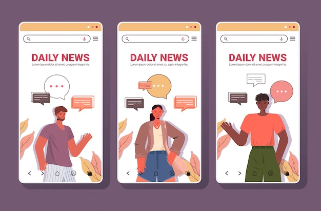Set people with chat bubbles communication daily news concept. smartphone screens collection portrait copy space horizontal illustration