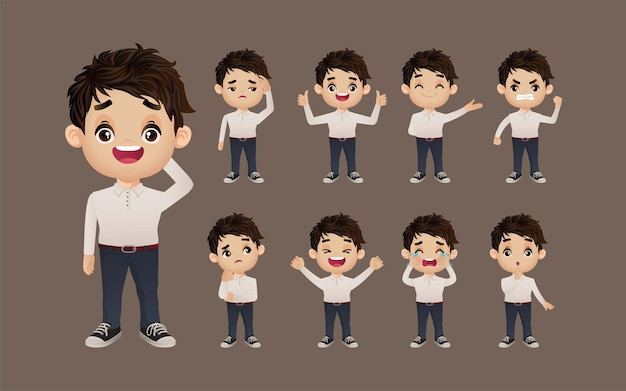Set of people with different emotion