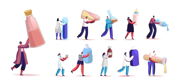 Set of people with different liquids in bottles, tubes and flasks. tiny male and female characters hold medicine, baby milk, chemical reagents isolated on white background. cartoon vector illustration