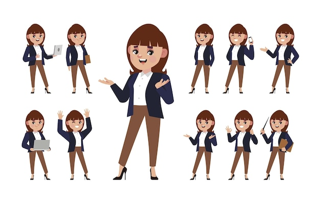 Set of people with different poses