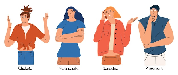 A set of people with different types of temperament choleric sanguine melancholic phlegmatic