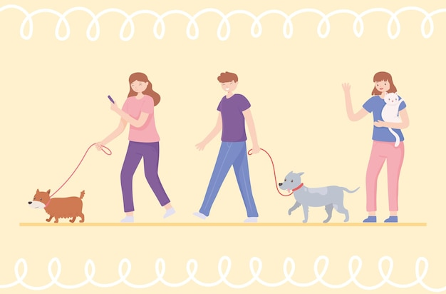 Set people with dogs