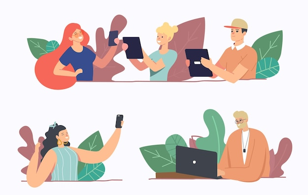 Set of people with gadgets