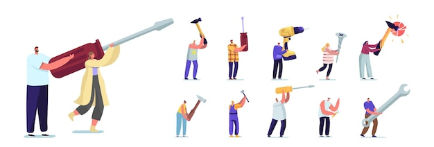 Set of people with hand instruments. tiny male and female characters holding huge tools screwdriver, hammer and wrench with screw and drill isolated on white background. cartoon vector illustration