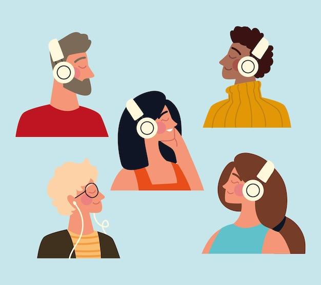 Set of people with headphones