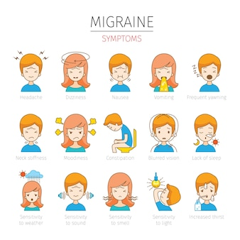 Set of people with migraine symptoms