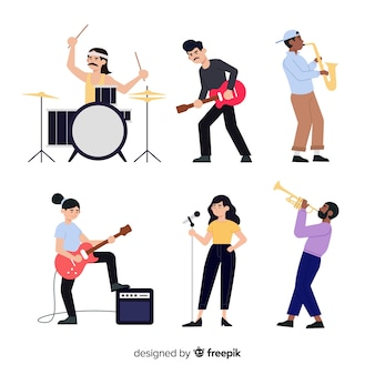 Set of people with musical instruments
