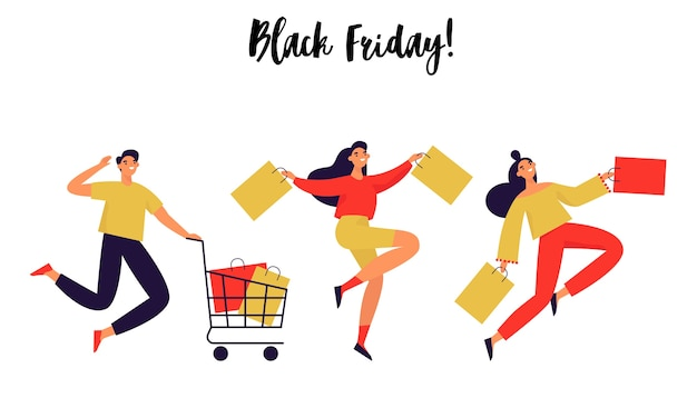 Set of people with shopping bags. black friday banner. flat  illustration.