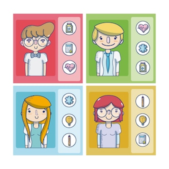 Set of people and work cartoons cards