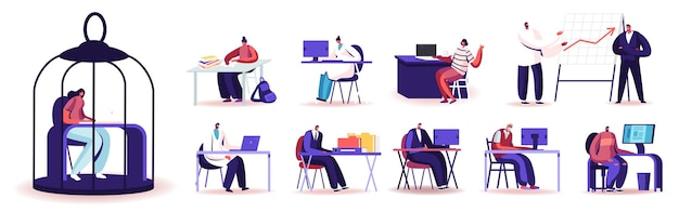 Set of people work in office. characters working on laptops and computers, scientists exploration in laboratory. male female working process isolated on white background. cartoon vector illustration