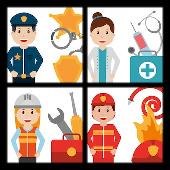Set of people worker profession card