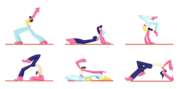 Set of people workout. young athletic man and women wearing sports clothing doing gymnastic, cartoon flat illustration