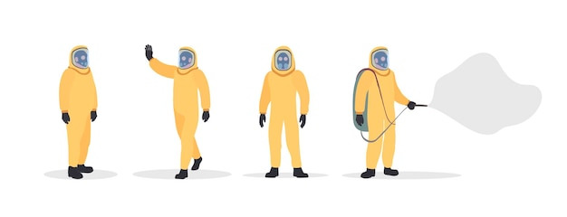 Set of people in yellow protective suits. man in a dry suit isolated. suit from virus and radiation.  .