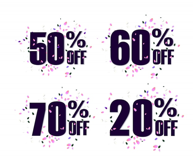 Set percent off discount promotion tag. promo sale label. vector flares on white background.