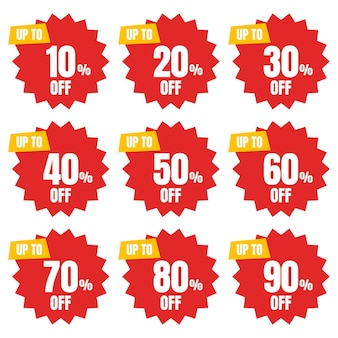 Set of percent off discount sign banner or poster special offer price signs