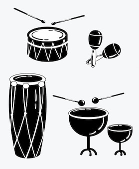 A set of percussion musical instruments. collection of musical drums.
