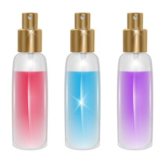Set of perfume bottles isolated