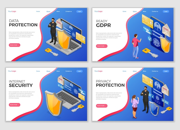 Set personal data security landing page templates