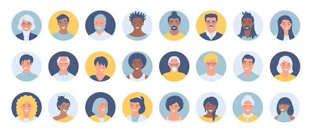 Set of persons, avatars, people heads of different ethnicity and age in flat style.