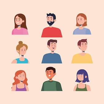 Set of persons characters