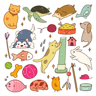 Set of pet animals kawaii doodle set vector illustration