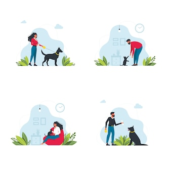 ペットの飼い主のテンプレートを設定します。家畜のシーンで遊んでいる幸せな人たち。若い人たちは家で時間を過ごします。犬を散歩させ、猫とリラックスするキャラクター。ベクトルイラスト