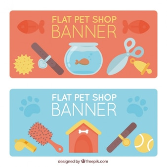 Set of pet shop banners in flat style
