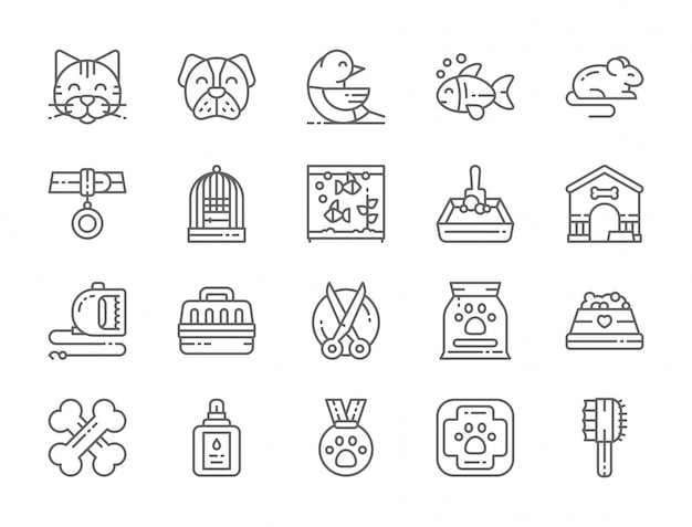 Set of pet shop line icons