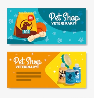 Set of pet shop veterinary banners
