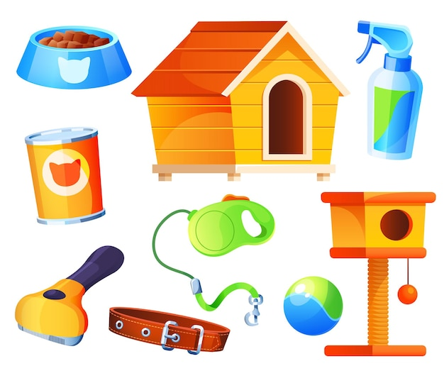 Set for pets. domestic animals store accessories isolated cartoon elements