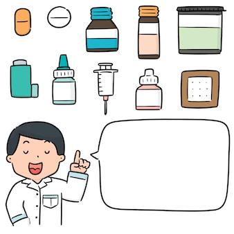 Set of pharmacist and medicine