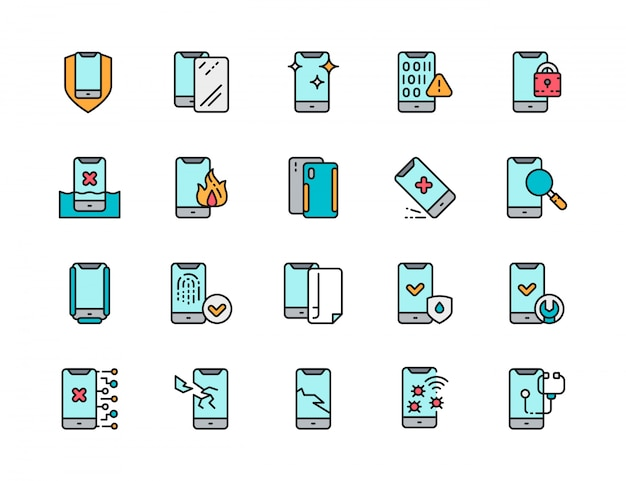 Set of phone repair flat color line icons. spam, protective glass, software virus