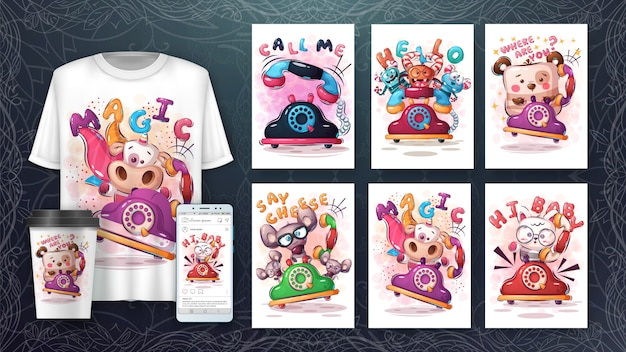 Set phone with animals poster and merchandising