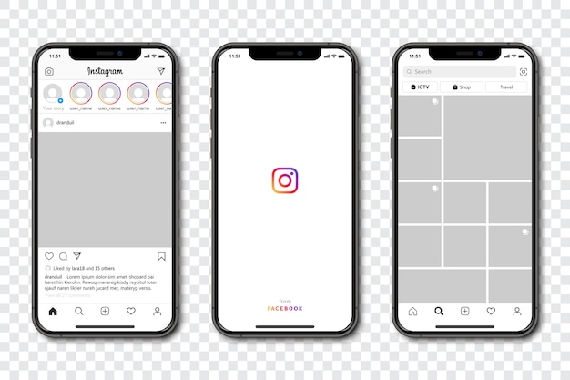 Set of phone with social media template frame