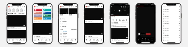 Set of phones with youtube template frame for social network