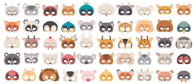 Set of photo booth props masks of wild and domestic animals