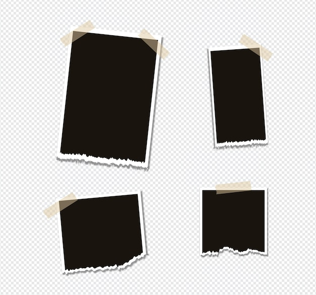 Set of photo frame mockup design on sticky tape isolated