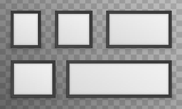 Set of photo frames isolated