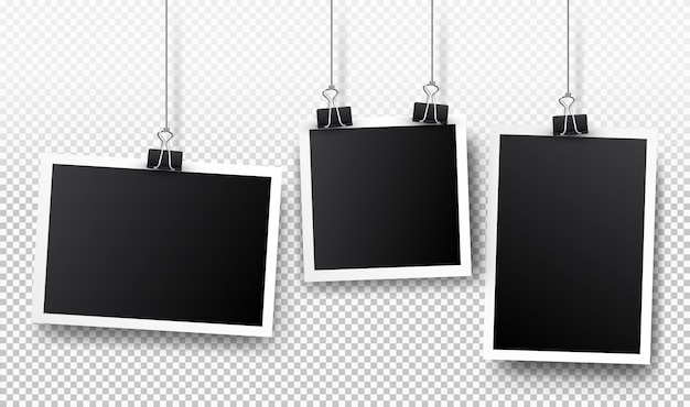 Set of photo frames. realistic detailed photo design isolated