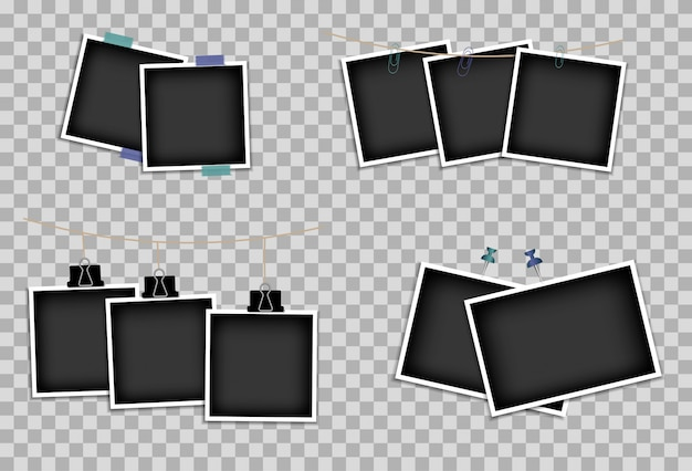 Set of photo frames on sticky tape, pins and rivets. photo design template. illustration. isolated on a transparent background.