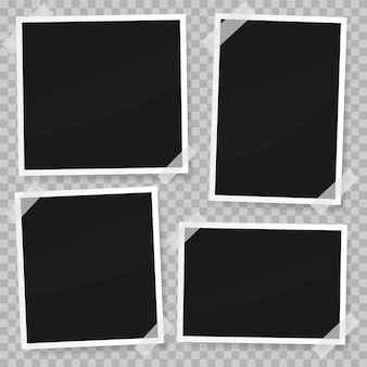 Set of photo paper template with white tape