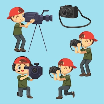 Set of photographer and videographer man reporting the news in cartoon character, difference action isolated flat illustration