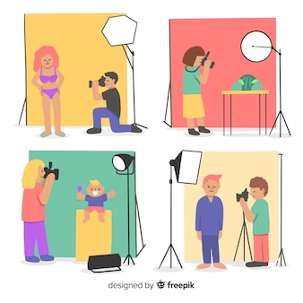 Set of photographers working illustrated