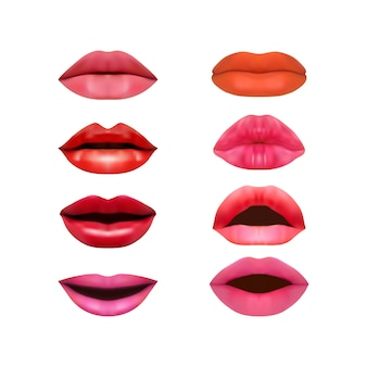 Set of photorealistic lips isolated on a white background.