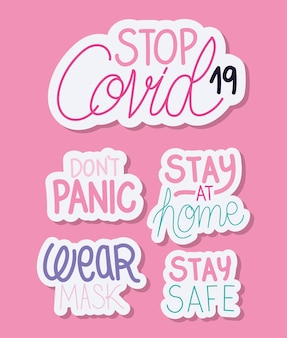 Set of phrases about covid19 vector illustration design