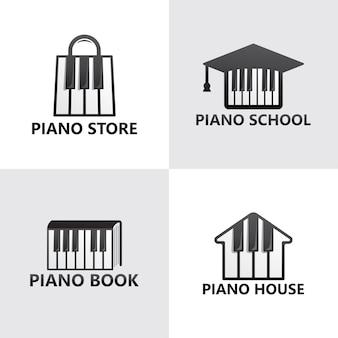 Set of piano logo template premium
