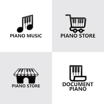 Set piano music logo template premium vector