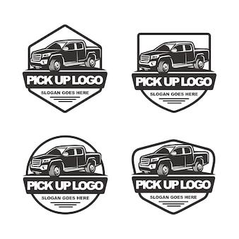 Set of pick up car logo template